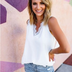New White Lace Trimmed Camisole Tank Top Blouse